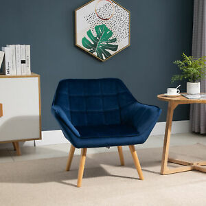 HOMCOM Luxe Velvet Chair Armchair w/ Wide Slanted Accent Back Wood Legs Blue