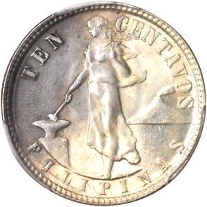 1945 D Philippines Double Die 10 Centavos, PCGS MS 64, Allen 9.05b, Rare Variety
