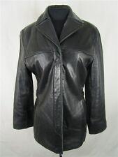 Liz Claiborne Women's sz M Black Zip Up Button Collared Leather Jacket