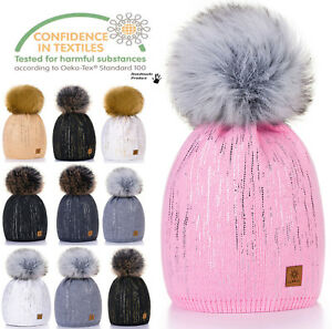 Kids Children Winter Beanie Hat Warm Knitted With Faux Large Pom Pon Zuza