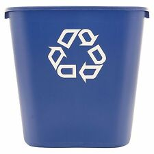 2 of Rubbermaid Commercial Deskside Recycling Trash Garbage Can Blue - 28 1/8 qt
