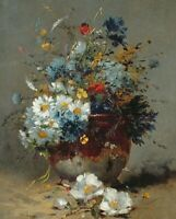 Daisies And Cornflowers Eugene Cauchois Home Decor Print on Canvas Giclee Small