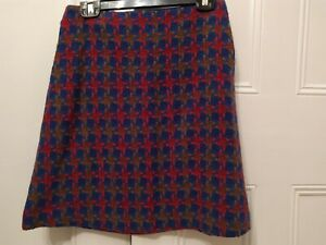 Boden red and blue patterned wool short skirt size 10
