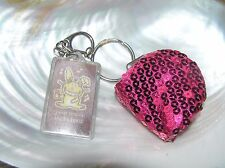 Pouch & Plastic Holographic Rabbit Key Chain Used Lot of 2 Fuchsia Pink Sequin