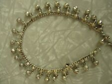 belly dance jewelry silver tone anklet bracelet chime noise cute vintage 11 inch
