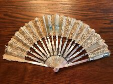 Antique Hand Painted Mother of Pearl and Lace Fan