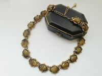 "VINTAGE 20"" Gold Tone Olive Green Agate Glass Necklace"