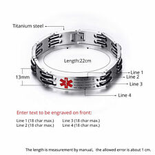 "Custom 8.7"" Stainless Emergency Medical Alert ID Bracelet With Free Engraving"