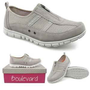 Wide Fitting Trainers Shoes Grey Zip Fastening