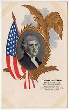 PRESIDENT THOMAS JEFFERSON Political PC Postcard PATRIOTIC Eagle AMERICAN FLAG