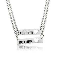 2PCS Family Mother Daughter Heart Love Mom Gift Women Jewelry Pendant Necklace