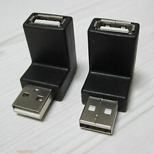 UP + Down right angle 90 degree USB 2.0 A male to Female connector adapter Black