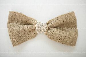 """Burlap Bow(s) 12"""" x 6""""  with Your Choice of Lace Trim - Weddings-Special Events"""