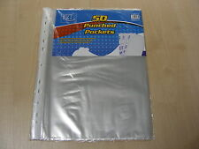 Pack De 50 A4 puñetazos de plástico transparente de presentación Poly Bolsillos Mangas Carteras Carpetas Nuevo