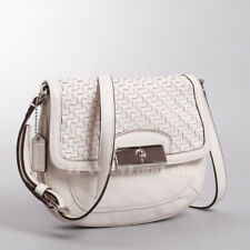 Authentic COACH 47478 Kristin Woven Leather Fashion Crossbody Shoulder Bag Ivory