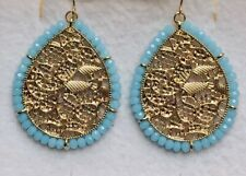 Stunning Filigree GoldTeardrop Statement Drop Earrings & Turquoise Crystals.-)