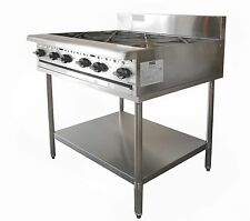 COMMERCIAL S/S CATERWARE GAS SIX BURNER COOKTOP ON STAND (LPG OR NATURAL)