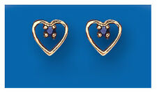Sapphire Earrings Heart Studs Yellow Gold Sapphire Earrings