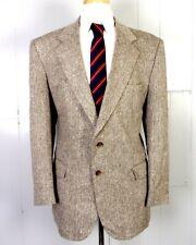 vtg Towncraft Brown 100% Matka Silk Herringbone Blazer Sportcoat sz 43 R