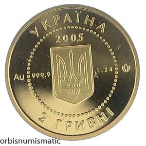 2005 UKRAINE SCYTHIAN HORSEMAN 2 HRYVNI RARE 1/25 OZ 999 GOLD PROOF UNC #AA22