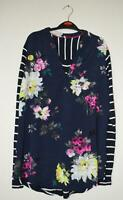 NEW EX JOULES UK SIZE 8 10 12   NAVY PINK FLORAL BEATRICE PART JERSEY BLOUSE TOP