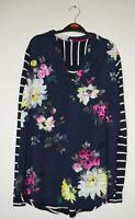 NEW EX JOULES UK SIZE 10 12 NAVY PINK FLORAL BEATRICE PART JERSEY BLOUSE TOP