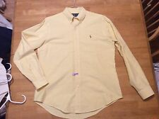 Ralph Lauren Custom fit SHIRT Yellow Button down Collar Long sleeve Mens L Horse