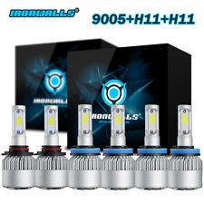 9005+H11+H11 Total 3240W IRONWALLS LED Headlights High Low Beam+Fog Light Bulbs