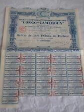 Vintage share certificate Stock Bonds action Comptoir import Congo-Cameroun 1928