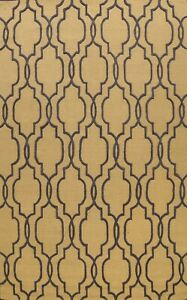 Trellis GOLD Modern Oriental Area Rug Hand-Tufted Wool Dining Room Carpet 9'x12'