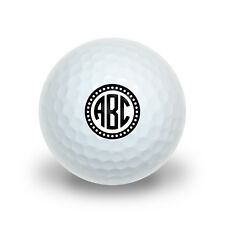 Personalized Custom Novelty Golf Balls 3 Pack - Monogram Circle Scalloped