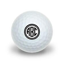 Personalized Custom Novelty Golf Balls 3 Pack - Monogram Circle Scalloped