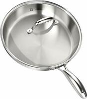 Skillet with Lid Stainless Steel Induction Compatible by Utopia Kitchen