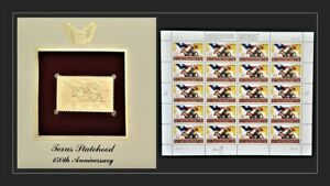 1995 Texas Statehood 150 Years Sheet & Golden Replica FDC Stamps MNH SC #2968