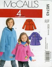 Girl's Jacket, Coat, Hoodie McCall's M5743 Pattern Sizes. 3 to 6. Uncut