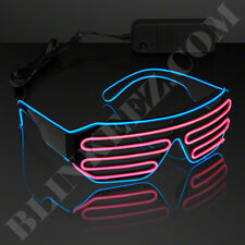 BLUE PINK EL WIRE LED Glasses Light Up Shades Flashing Rave Festival Party Neon