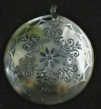 """Vintage Abalone Mother of Pearl MOP 2"""" Diameter with Silver Victorian Medallion"""