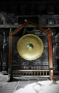 LARGE 19thC BRONZE TEMPLE GONG - Victorian aesthetic/ gothic revival, Buddhist