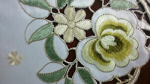"""Spring Green Flower Embroidery Embroidered Floral Cutwork 33"""" Tablecloth Round"""