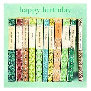Classic Literature Books Happy Birthday Card - Framed Esprit Greeting Cards