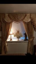 OUR NEW DAMASK DESIGNER SWAGS AND TAILS  & CURTAINS TASSELED FULLY LINED GOLD