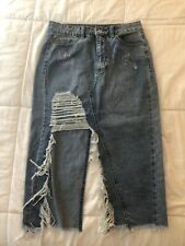 Litz Jean Skirt Size Small Denim Distressed Women's 3/4 Length Super Cool