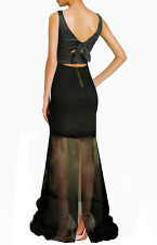 NWT Artelier NICOLE MILLER Black Metallic Mesh Viscose Evening Dress Gown 2 $440