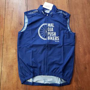 Maloja Pro Cycling Vest Mens M Blue Pushbikers Race Fit Full Zip Windbreaker