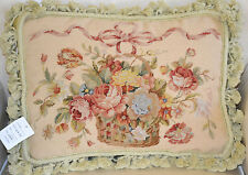 "14""x 18"" French Country Style Handmade Petite Point Needlepoint Pillow WM-56"