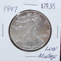 1997 Silver American Eagle BU Coin 1 oz $1 Dollar U.S. Mint Uncirculated Package