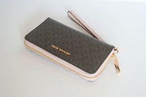 Michael Kors Jet Set Travel Large Phone Case PVC Leather Wristlet MK Brown Pink