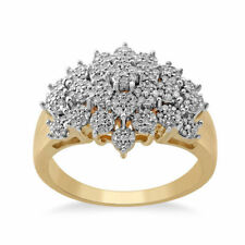 Unbranded Diamond Cluster Yellow Gold Fine Rings