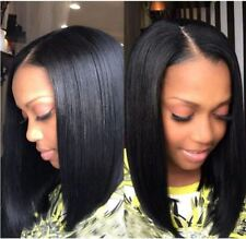 "Short BOB Brazilian Virgin Human Hair Wig Glueless Lace Front (Middle Part, 12"""