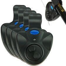 New 4X Black Electronic LED Light Fish Bite Sound Alarm Bell Clip On Fishing Rod